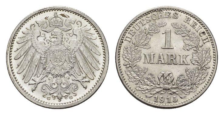 1 Mark 1915, G. Deutsches Reich Fast Stempelglanz/Stempelglanz.