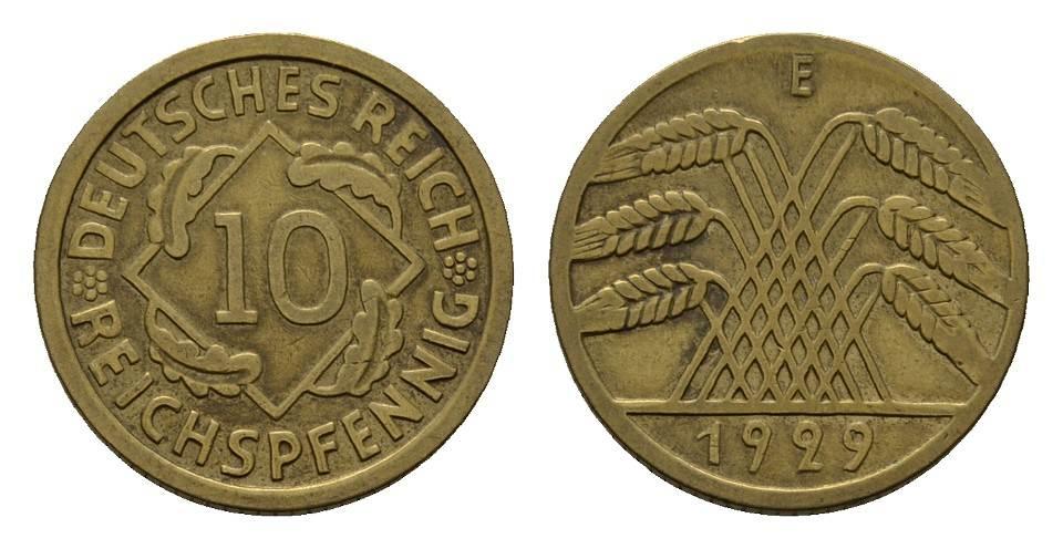 10 Reichspfennig 1929, E. WEIMARER REPUBLIK Fast vorzüglich.