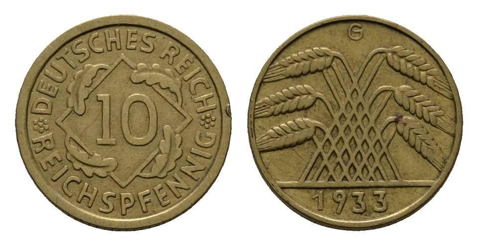 10 Reichspfennig 1933, G. WEIMARER REPUBLIK Fast vorzüglich.