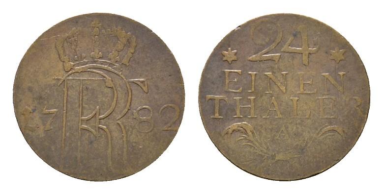 1/24 Taler 1782, A-Berlin. BRANDENBURG-PREUSSEN Friedrich II., der Große, 1740-1786. Sehr schön.