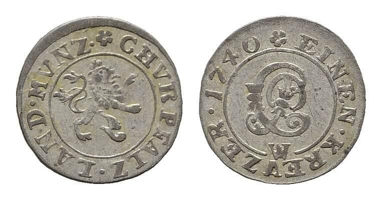 Kreuzer 1740, M-Mannheim. PFALZ Karl Philipp, 1716-1742. Fast vorzüglich.