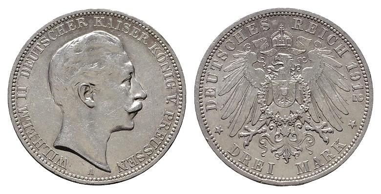 3 Mark 1912, A. Preussen Wilhelm II., 1888-1918. Fast Stempelglanz.