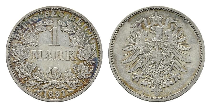 1 Mark 1881, A. Deutsches Reich Vorzüglich-stempelglanz.