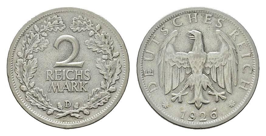 2 Reichsmark 1926, D. WEIMARER REPUBLIK Fast vorzüglich.