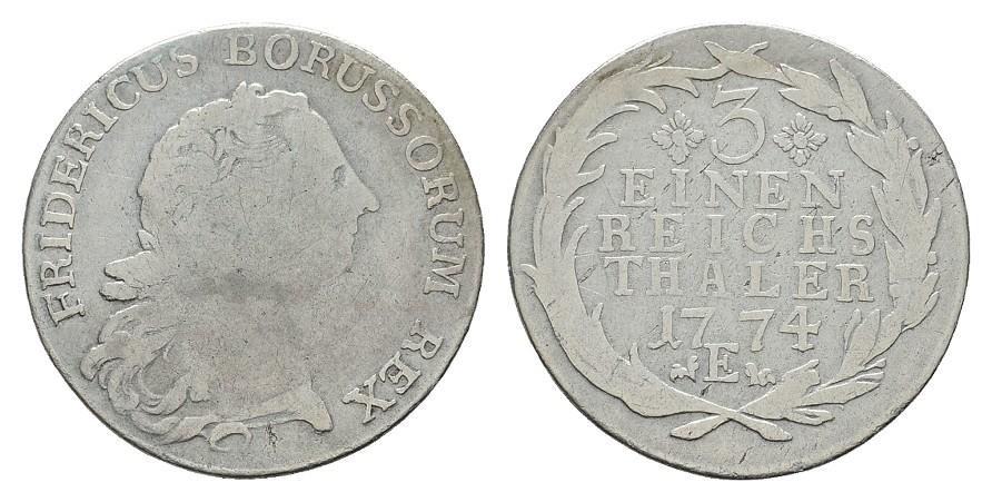 1/3 Taler 1774, E-Königsberg. BRANDENBURG-PREUSSEN Friedrich II., der Große, 1740-1786. Schön/Sehr schön.