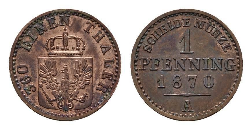Pfennig 1870, A. BRANDENBURG-PREUSSEN Wilhelm I., 1861-1888. Vorzüglich.