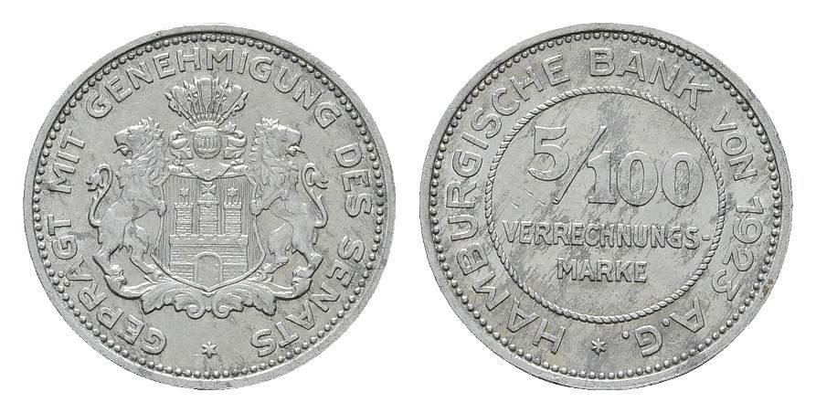 5/100 Verrechnungs-Marke 1923. STAATLICHE NOTMÜNZEN Hamburgische Bank von 1923 AG Vorzüglich.