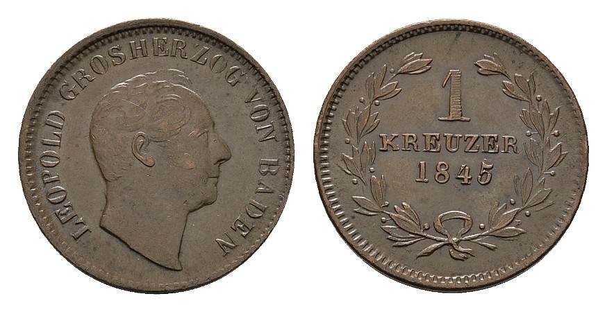 Ku.-Kreuzer 1845. BADEN Karl Leopold Friedrich, 1830-1852. Vorzüglich +.