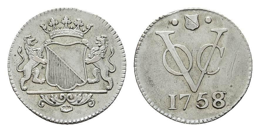 2 1/2 Cents 1758. NIEDERL.-INDIEN Utrecht Kl. Zainende, sehr schön-vorzüglich.
