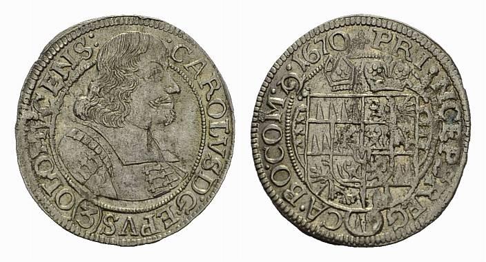 3 Kreuzer 1670. DIE GEISTLICHKEIT IN DEN HABSBURGISCHEN ERBLANDEN Karl II. von Liechtenstein, 1664-1695. Vorzüglich
