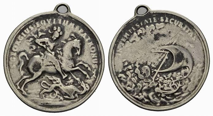 Zeitgenössische Silbergußmedaille d.St.Georgs-Scha o.J. (um 1850). KAISERREICH ÖSTERREICH Schön
