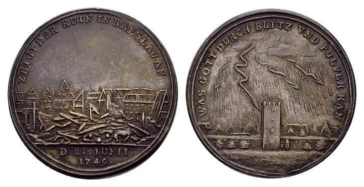 Silbermedaille 1749. SCHLESIEN Hübsche Patina.Vorzüglich +