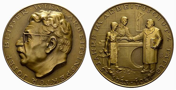 Bronzemedaille (Welz) 1948. NUMISMATIKER Beisser, Josef. Prägefrisch