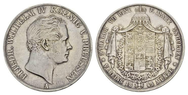 Doppelter Vereinstaler 1845, A. BRANDENBURG-PREUSSEN Friedrich Wilhelm IV., 1840-1861. Sehr schön-vorzüglich.