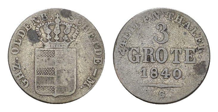 3 Grote 1840. OLDENBURG Paul Friedrich August, 1829-1853. Fast sehr schön