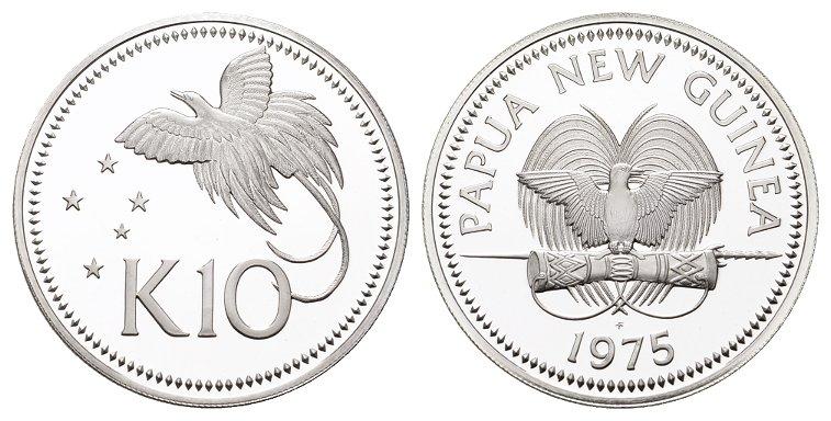 10 Kina 1975. PAPUA NEU-GUINEA Republik. Polierte Platte