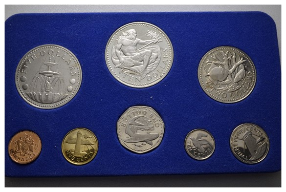 Kursmünzensatz 8 Werte 1973. BARBADOS Elisabeth II. seit 1966. Polierte Platte