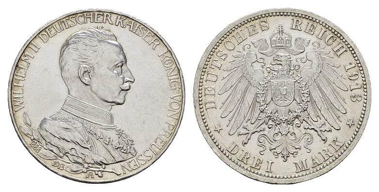 3 Mark 1913, A. Preussen Wilhelm II., 1888-1918. Fast Stempelglanz/Stempelglanz.