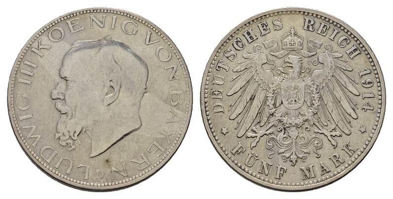 5 Mark 1914, D. Bayern Ludwig III., 1913-1918. Fast Vorzüglich