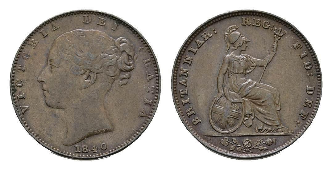 Farthing 1840. GROSSBRITANNIEN Victoria, 1837-1901. Vorzüglich-stempelglanz.
