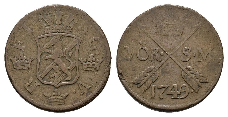 2 Öre 1749, Avesta. SCHWEDEN Friedrich I., 1720-1751. Sehr schön.