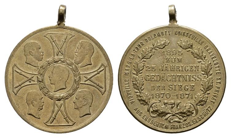 Bronzemedaille 1895. BRANDENBURG-PREUSSEN Wilhelm II., 1888-1918. Mit angeprägtem Henkel. Vorzüglich -Stempelglanz