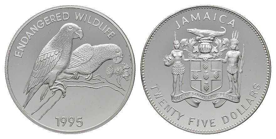25 Dollars 1995. JAMAIKA Elizabeth II. seit 1952. Polierte Platte.