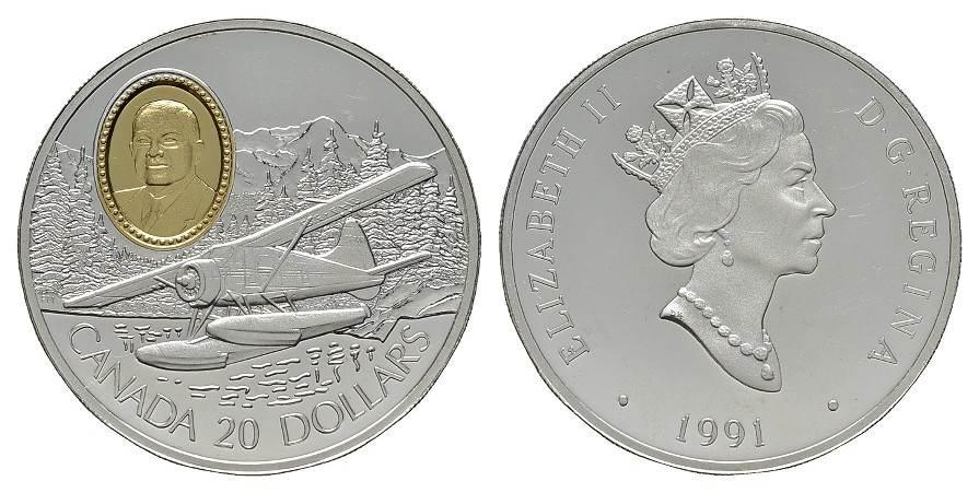 20 Dollars 1991. KANADA Elizabeth II. seit 1952. Polierte Platte.
