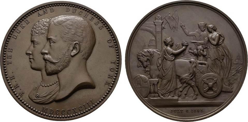 Bronzemedaille (G.G. Adams) 1893 GROSSBRITANNIEN Stadt. Fast Stempelglanz.