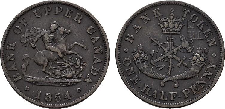 1/2 Penny 1854. KANADA Sehr schön +.