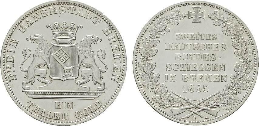 Taler 1865, B. BREMEN Stempelglanz -.