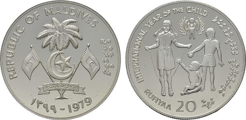 20 Rufiyaa AH1399 = 1979. MALEDIVEN Republik. Polierte Platte.