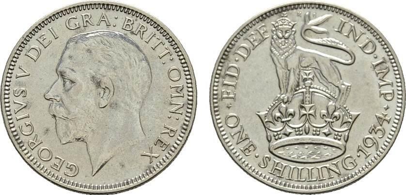 Shilling 1934. GROSSBRITANNIEN George V, 1910-1936. Sehr schön-vorzüglich.