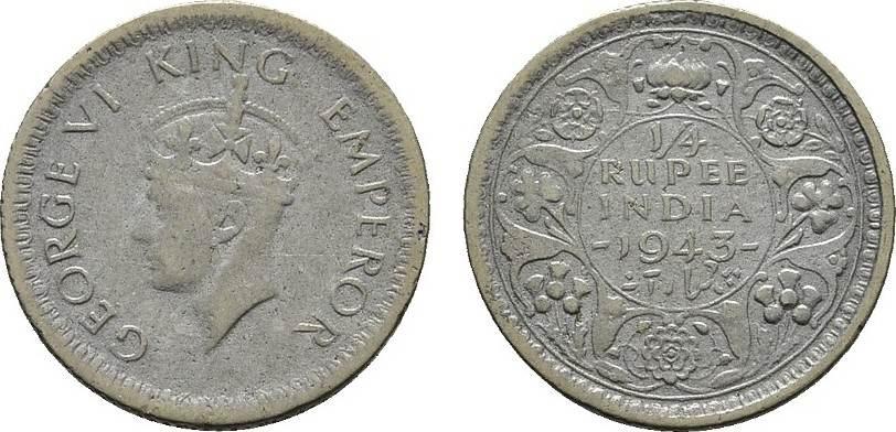 1/4 Rupee 1943. INDIEN George VI., 1936-1947. Sehr schön.