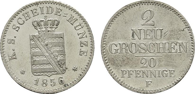 2 Neugroschen (20 Pfennige) 1856 F. SACHSEN Johann, 1854-1873. Stempelglanz.
