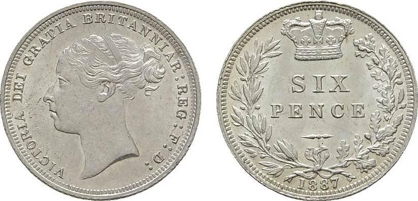 6 Pence 1887. GROSSBRITANNIEN Victoria, 1837-1901. Stempelglanz -.