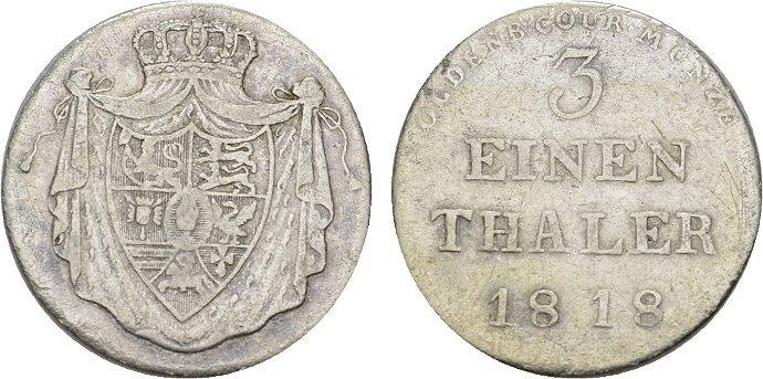 1/3 Taler 1818. OLDENBURG Peter Friedrich Ludwig, 1785-1829, bis 1823 als Administrator für Peter Friedrich Wilhelm. Sehr schön