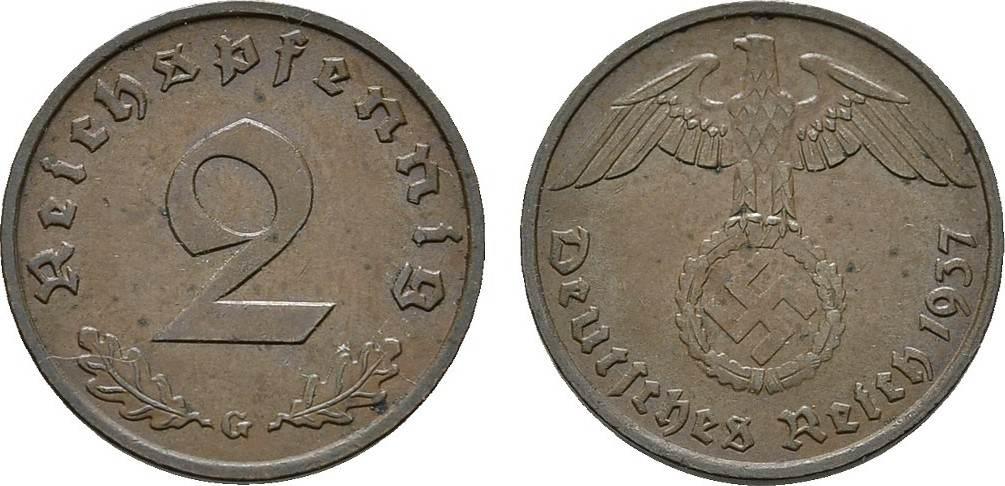 2 Reichspfennig 1937, G. DRITTES REICH Vorzüglich +