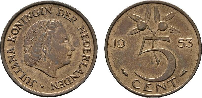 5 Cents 1953. NIEDERLANDE Juliana, 1948-1980. Stempelglanz.
