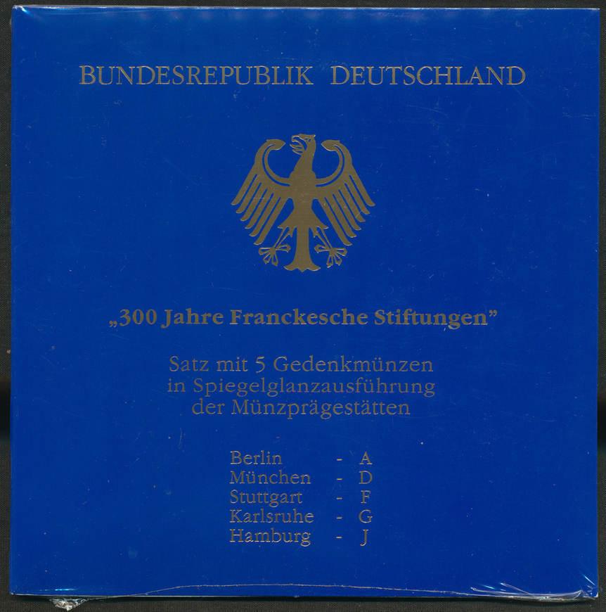 5x 10 DM 1998. BUNDESREPUBLIK DEUTSCHLAND Stempelglanz.
