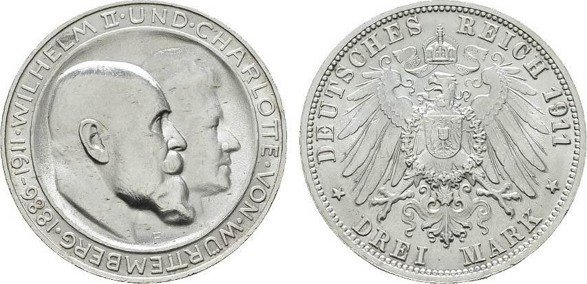 3 Mark 1911. Württemberg Wilhelm II., 1891-1918. Fast Stempelglanz