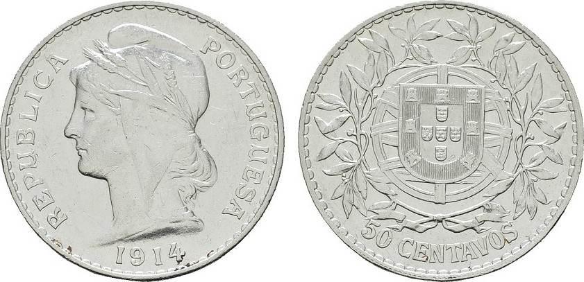 50 Centavos 1914. PORTUGAL Fast vorzüglich.