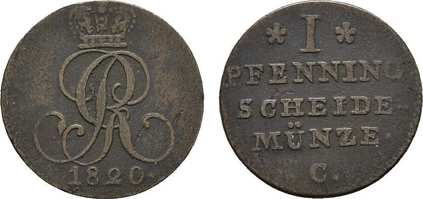 Pfennig 1820, C. HANNOVER Sehr schön.