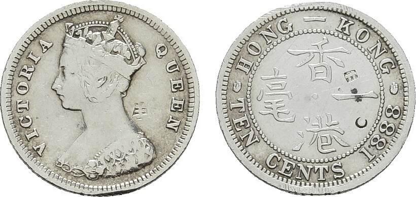 10 Cents 1888. HONG KONG Victoria, 1841-1901. Sehr schön +.