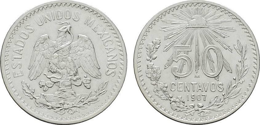 50 Centavos 1907. MEXIKO Republik. Vorzüglich +.