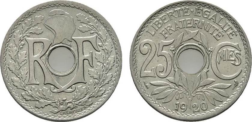 25 Centimes 1920 FRANKREICH 3. Republik, 1870-1940. Fast Stempelglanz