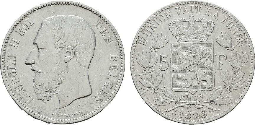 5 Francs 1873. BELGIEN Leopold II., 1865-1909. Sehr schön +