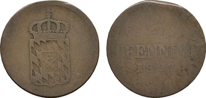 2 Pfennig 1822. BAYERN Maximilian I. (IV.) Joseph, 1799-1806-1825. Schön