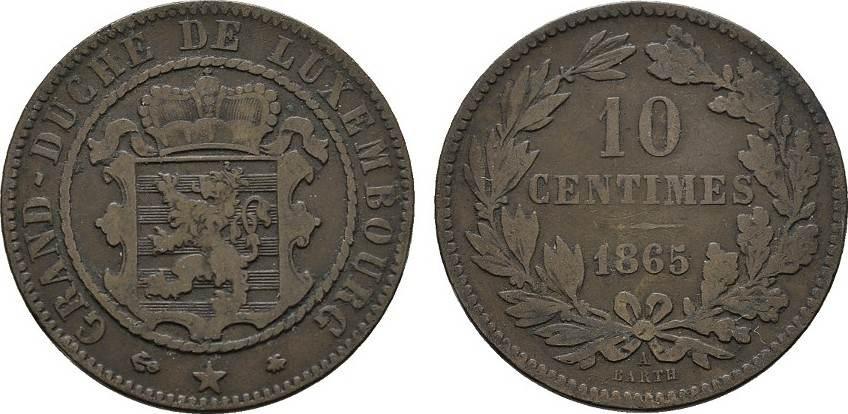 10 Centimes 1865, A. LUXEMBURG Wilhelm III., 1849-1890. Fast Sehr schön