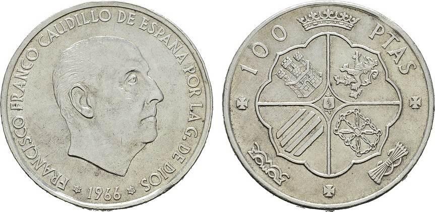 100 Pesetas 1966 (68) SPANIEN Regierung von Francisco Franco, 1939-1975. Vorzüglich-stempelglanz.